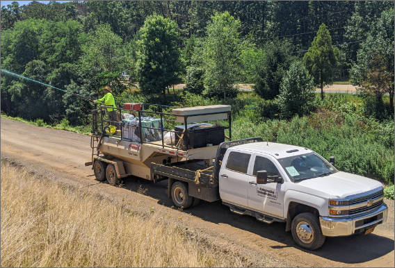 Hydroseeding Technology truck in action